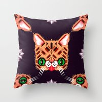 lil bub Throw Pillows featuring Lil Bub Geometric Pattern by chobopop