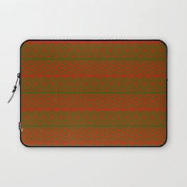 Red and Green Classic Nordic Christmas Pattern Laptop Sleeve