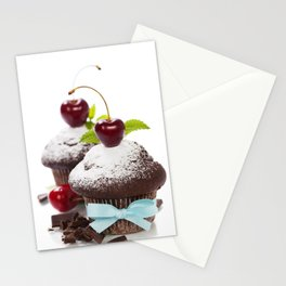 fresh chocolate muffins with cherry Stationery Cards