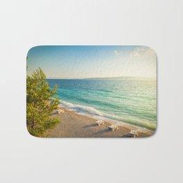 Beach in croatian coast, blue sea. Aerial view Bath Mat