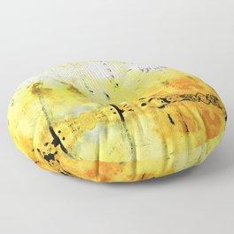 Yellow Abstract Art - Good Vibrations - By Sharon Cummings Floor Pillow