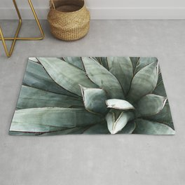 Botanical Succulents // Dusty Blue Green Desert Cactus High Quality Photograph Rug
