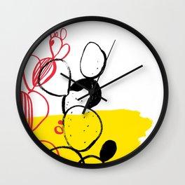 Yellow cactus Wall Clock