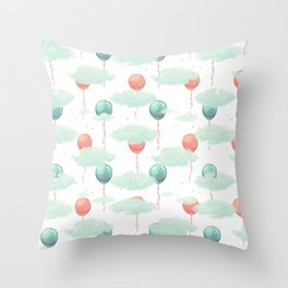 Modern coral teal watercolor clouds balloons pattern Throw Pillow