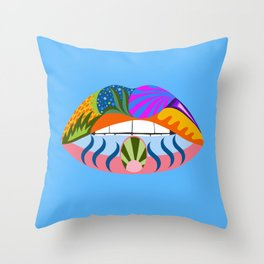 Lips with bold abstract patterns, blue retro pop art illustration Throw Pillow