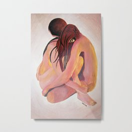 Intimate Couple Hugging and Staying In Touch Metal Print