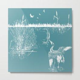 Orienal Exotic Heron & Birds on a Lake Print - Blue Metal Print
