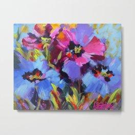 Wild Blue Poppy Garden Metal Print