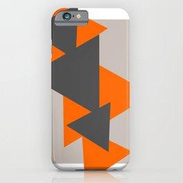 Orange and Grey Triangles iPhone Case