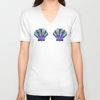 seashell V-neck T-shirts featuring Seashell #7C by Schatzi Brown