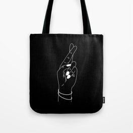 crossing fingers white Tote Bag