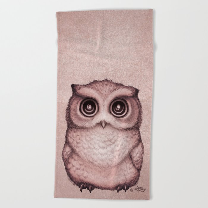 """The Little Owl"" by Amber Marine ~ (Peach Fuzz Version) Graphite&Ink Illustration, (Copyright 2016) Beach Towel"