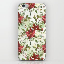 Botanical burgundy yellow green watercolor holly floral iPhone Skin