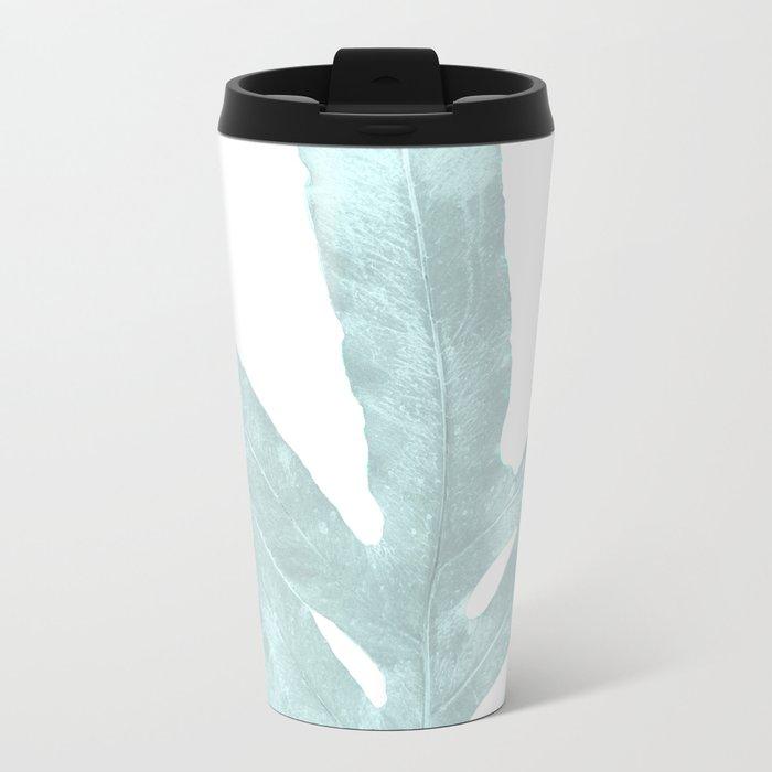 Ice Blue Fern in Summer White Metal Travel Mug