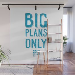 Big plans only - hand lettering quote Blue geek and nerds design Laptop sticke Wall Mural