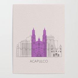 Acapulco Landmarks Poster Poster