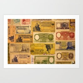 Numerous old banknotes of the Argentine Republic already out of circulation. Art Print