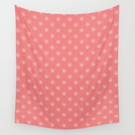 White on Coral Pink Snowflakes Wall Tapestry
