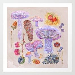 Winter Wood Blewits - Cosy Art Print