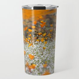Babies Breath and Golden Poppies of California by Reay of Light Photography Travel Mug