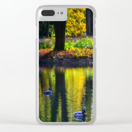 autumn at the pond Clear iPhone Case