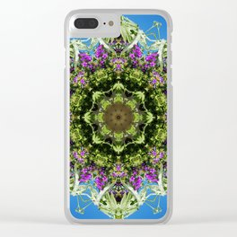 Intricate floral kaleidoscope - Vebena, Dichondra leaves with blue sky Clear iPhone Case