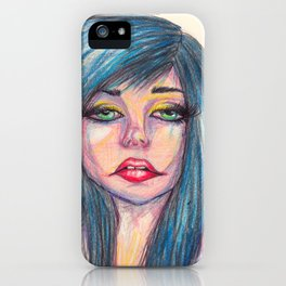 Blue Hair, Dont Care iPhone Case