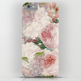 Vintage Roses and Lilacs Pattern - Smelling Dreams iPhone Case
