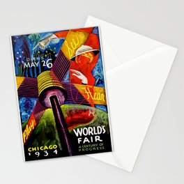 Retro 1934 Chicago World's Fair Travel Poster Stationery Cards