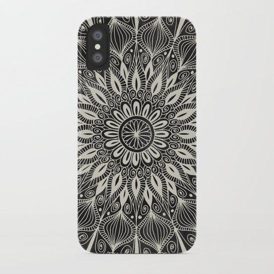 Vintage Mandala on black iPhone Case
