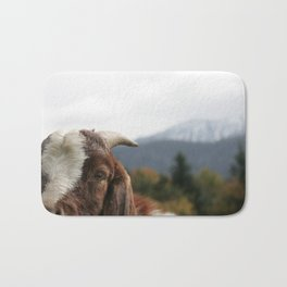 Look who's complaining, funny goat photo Bath Mat