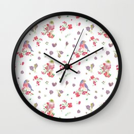 Birds and Pink Flowers Wall Clock