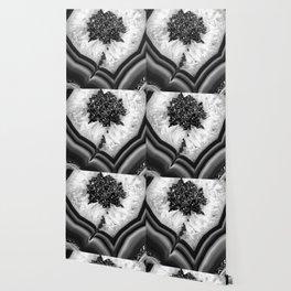 Gray Black White Agate with Black Silver Glitter #1 #gem #decor #art #society6 Wallpaper