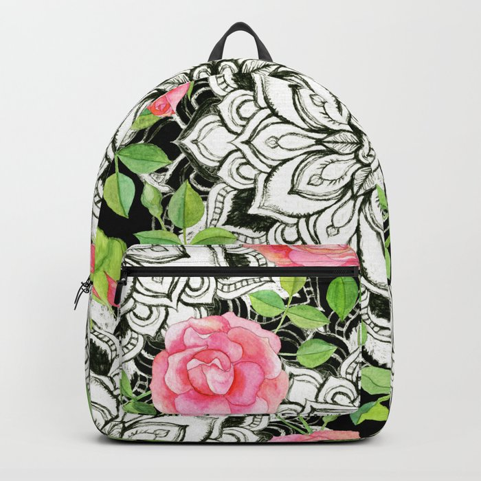 Peach Pink Roses and Mandalas on Black and White Lace Backpack