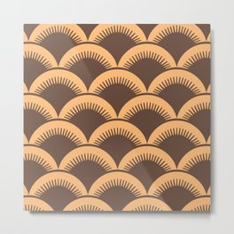 Japanese Fan Pattern Brown and Orange Metal Print