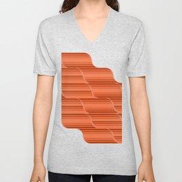 Geo Stripes - Rust Orange Unisex V-Neck