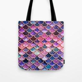 Pink & Purple Trendy Glitter Mermaid Scales Tote Bag