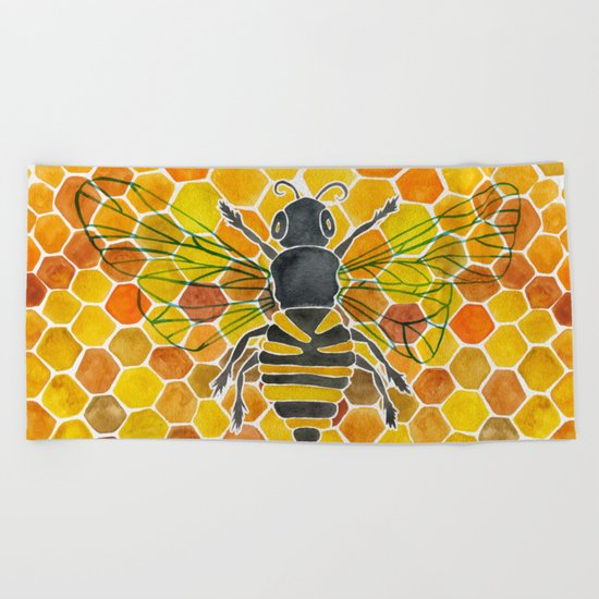 Bee & Honeycomb Beach Towel