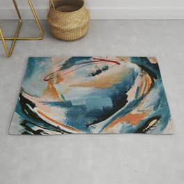 Drift 6: a bold mixed media piece in blues, brown, pink and red Rug