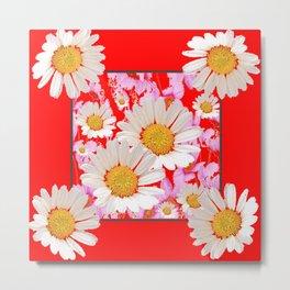 MODERN  DAISY FLOWER  RED ABSTRACT ART DESIGN Metal Print