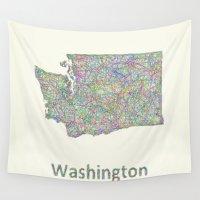 washington Wall Tapestries featuring Washington map by David Zydd
