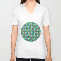 plaid V-neck T-shirts featuring Confetti Plaid by Peter Gross