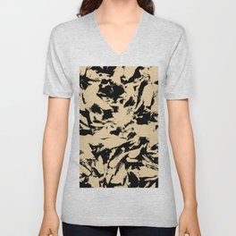 Beige Yellow Black Abstract Military Camouflage Unisex V-Neck