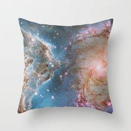 Eagle Nebula and Spiral Galaxy Deep Space Telescopic Photograph Throw Pillow