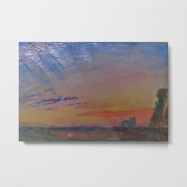 Herringbone Clouds at Sunset, Abbeville and St. Wulfran Cathedral, France by John Ruskin Metal Print