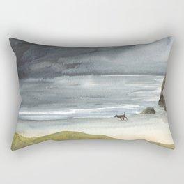 Black Dog on a Stormy Beach Rectangular Pillow