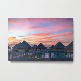 Tropical Pink Bora Bora Sunset Metal Print