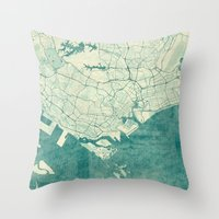 singapore Throw Pillows featuring Singapore Map Blue Vintage by City Art Posters