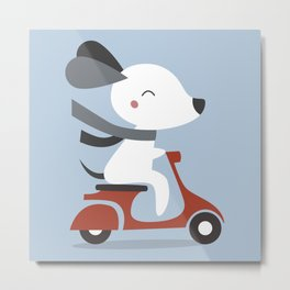 Kawaii Cute Dog Riding A Scooter Metal Print