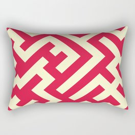 Cream Yellow and Crimson Red Diagonal Labyrinth Rectangular Pillow